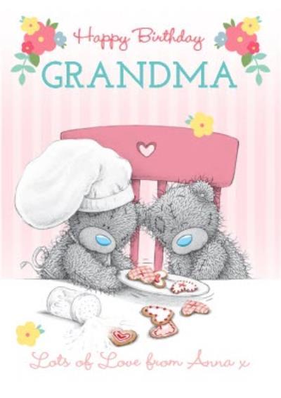 Tatty Teddy Chef And Friend Personalised Happy Birthday Card For Grandma