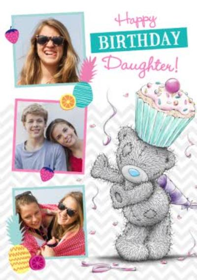Tatty Teddy Cupcake On Head Personalised Photo Upload Birthday Card For Daughter