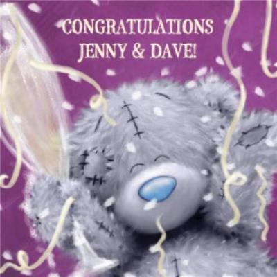 Tatty Teddy Purple Streamers Personalised Congratulations Card