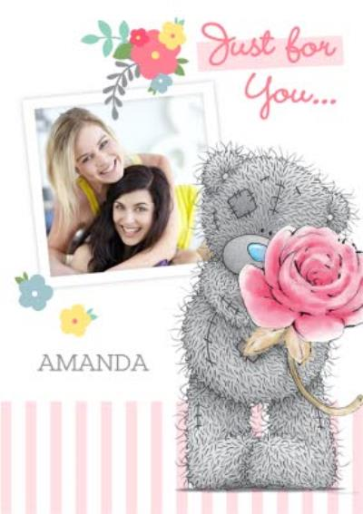 Tatty Teddy With Rose Personalised Photo Upload Just A Note Card