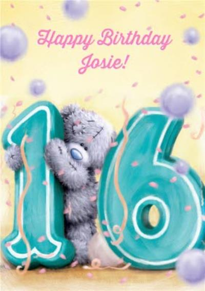 Tatty Teddy Lemon And Violet Personalised Happy 16th Birthday Card
