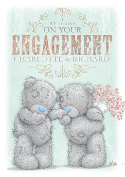 Tatty Teddy In Love Personalised On Your Engagement Card