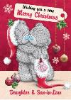 Tatty Teddy Cuddles And Stocking Personalised Merry Christmas Card For Daughter And Son-In-Law