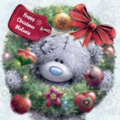 Tatty Teddy With Wreath Personalised Happy Christmas Card