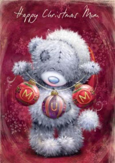 Tatty Teddy With Baubles Maroon Personalised Merry Christmas Card For Mum