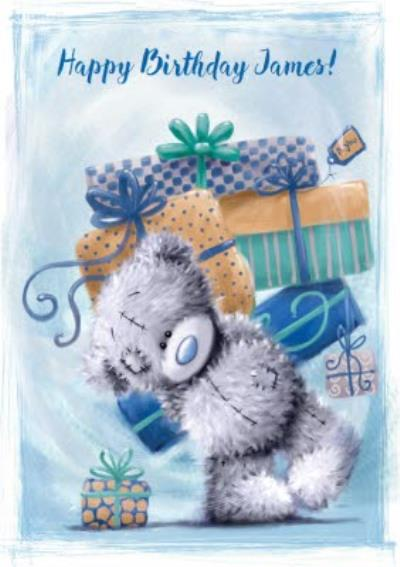 Me To You Tatty Teddy Too Many Presents Personalised Birthday Card