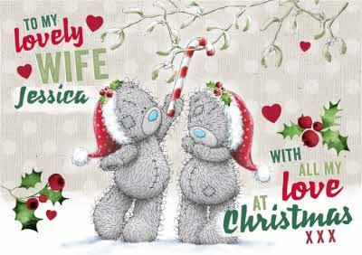 Me To You Tatty Teddy To Wife Personalized Christmas Card