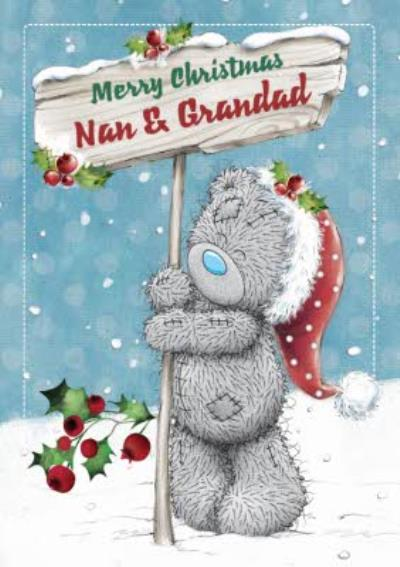 Me To You Tatty Teddy To Nan And Grandad Personalised Christmas Card