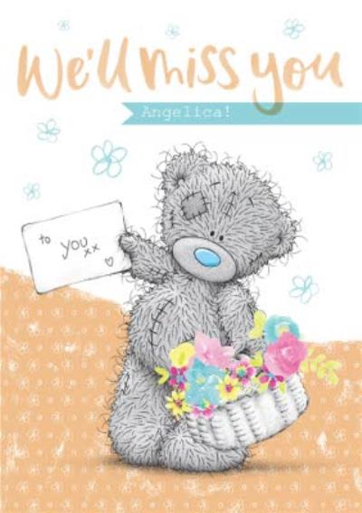 Me To You Tatty Teddy Basket Of Flowers Personalised Leaving Card
