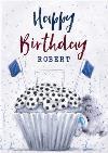 Cute Tatty Teddy Football Cupcake Birthday Card