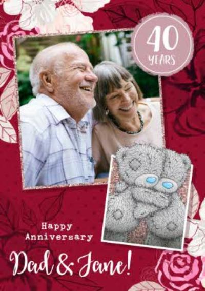 Me To You Tatty Teddy Dad and Partner 40 Year Anniversary Photo Upload Card