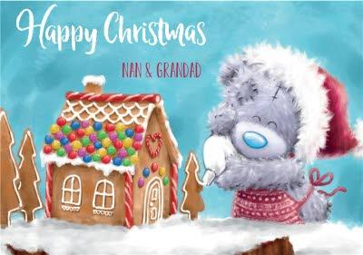 Me To You Tatty Teddy Gingerbread House Christmas Card For Nan And Grandad