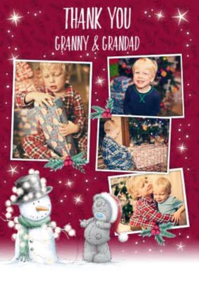 Tatty Teddy Christmas Thank you Photo upload Card For Granny & Grandad
