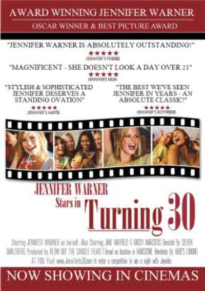 30th Birthday Card - Film Poster Parody