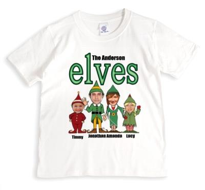 Christmas Elf Family Photo Upload T-shirt