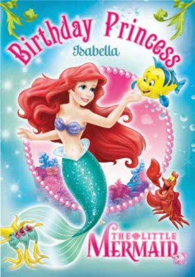 Disney Princess Ariel Personalised Happy Birthday Card