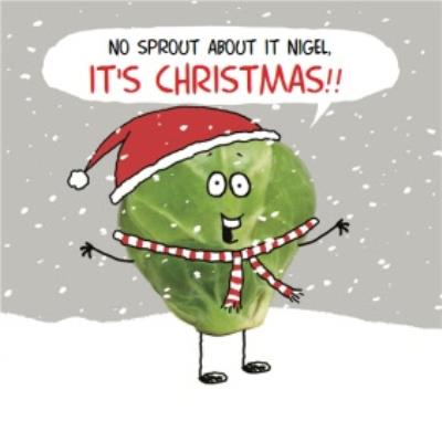 No Sprout About It Personalised Merry Christmas Card