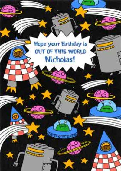 Spaceships Space Astronauts Aliens Out Of This World Birthday Card
