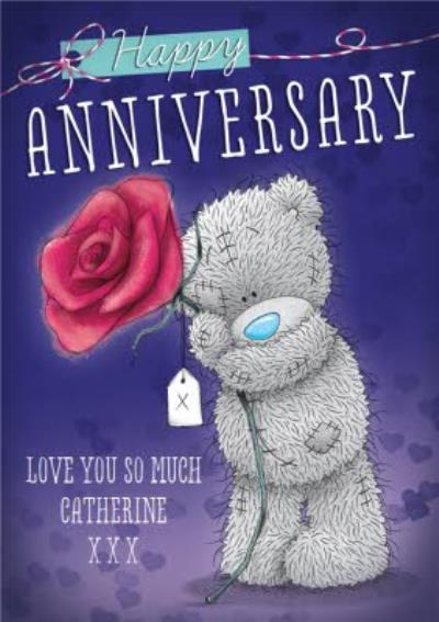 Me To You Tatty Teddy Big Rose Personalised Happy Anniversary Card