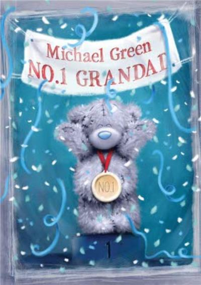 Tatty Teddy Streamers No.1 Personalised Happy Birthday Card For Grandad