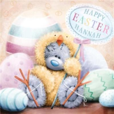 Tatty Teddy In Chick Outfit Personalised Happy Easter Card