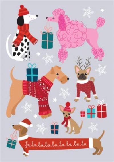 Cute Christmas Dogs Falalalala Christmas Card