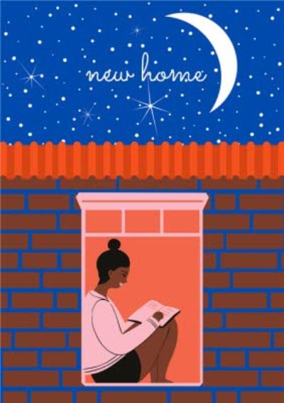 Modern Sat In Window Reading Moon Stars New Home Card
