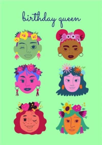 Modern Flower Crown Birthday Queen Card