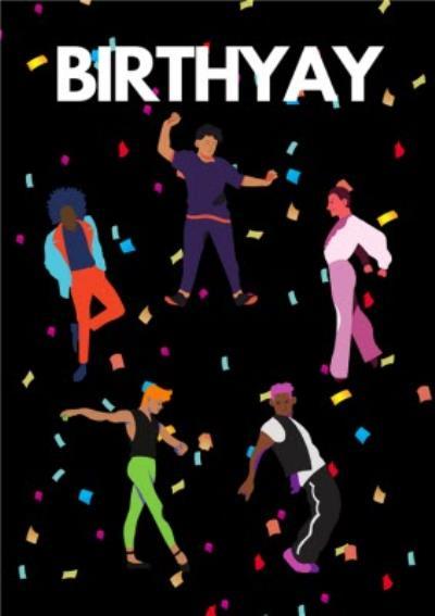 Modern Dance Confetti Birthyay Birthday Card