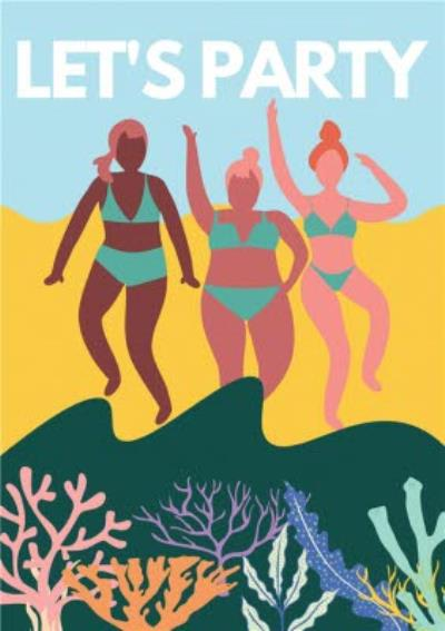 Modern Friends Beach Let's Party Birthday Card