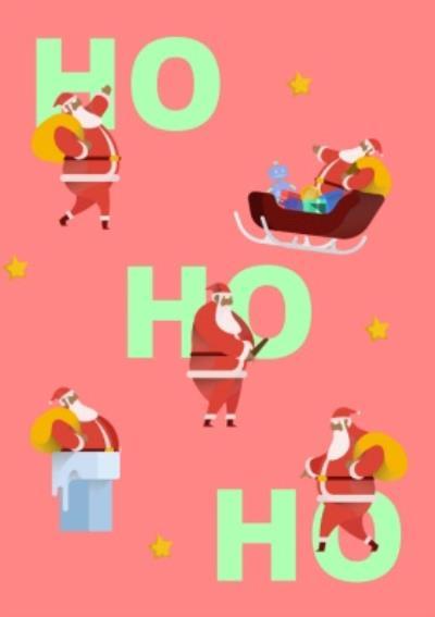 Stylized Modern Ho Ho Ho Christmas Card