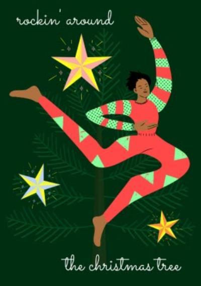 Stylized Modern Rockin Around The Christmas Tree Card