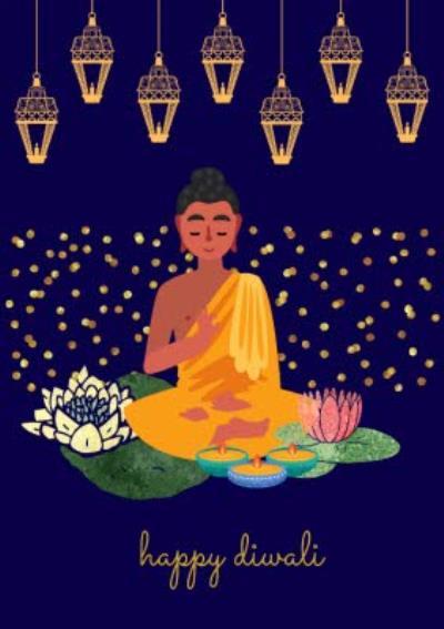 Modern Illustration Happy Diwali Card