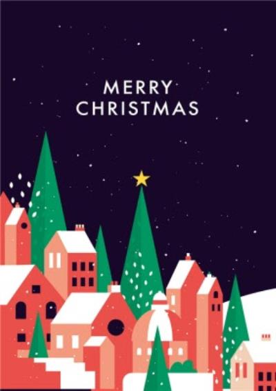 Merry Christmas Town Illustration Card