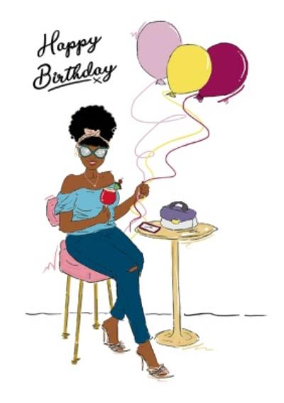 Lady and Balloons Happy Birthday Card