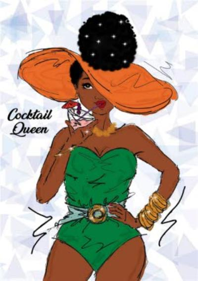 Cocktail Queen Woman Card