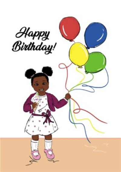 Happy Birthday Child With Balloons Cute Card