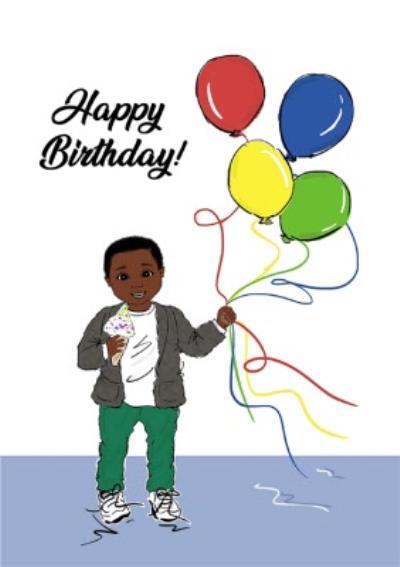 Happy Birthday Little Boy With Balloons Cute Card