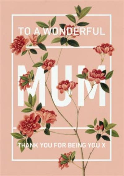 Mother's Day Card - To A Wonderful Mum