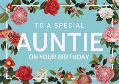 Special Auntie Pink Flower Birthday Card