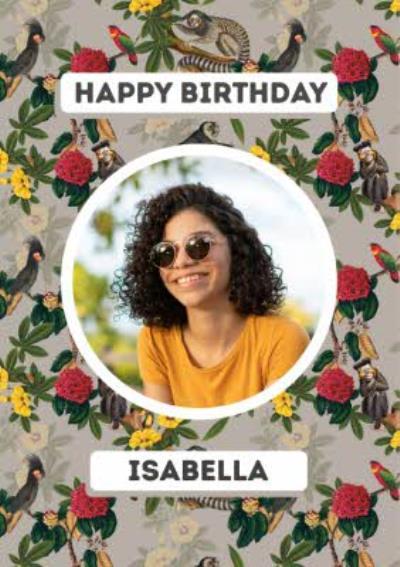 Happy Birthday Floral Lemur Photo Upload Card