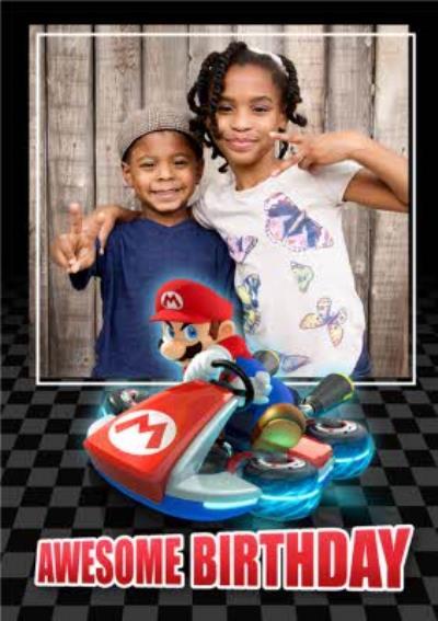 Nintendo Mario Kart Awesome Birthday Photo Upload Card