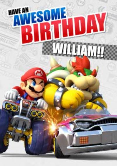 Nintendo Mario Kart Bowser Gaming Birthday Card