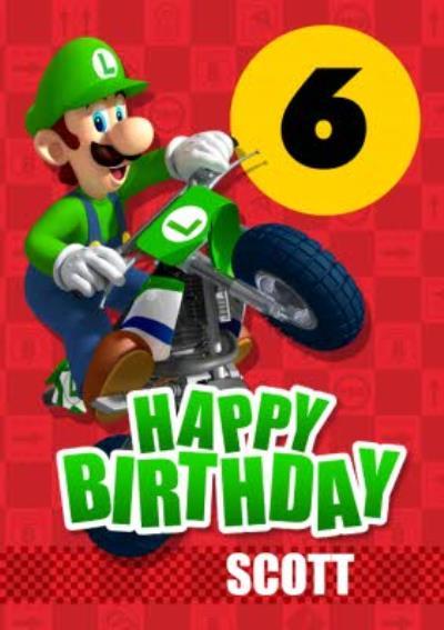 Nintendo Mario Kart Luigi Age 6 Birthday Card
