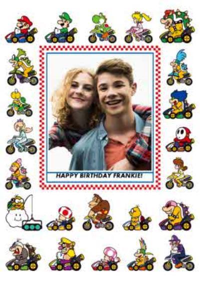 Nintendo Mario Kart Characters Gaming Photo Upload Birthday Card