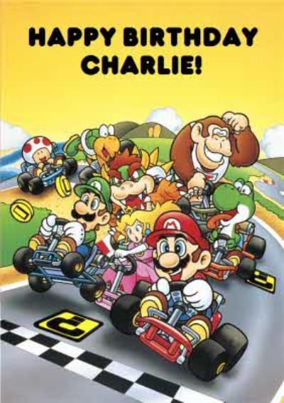 Nintendo Mario Kart Retro Birthday Card