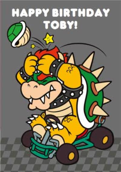 Nintendo Mario Kart Retro Bowser Birthday Card