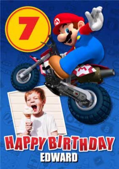 Nintendo Mario Kart Mario Riding A Motorbike Photo Upload Age Card