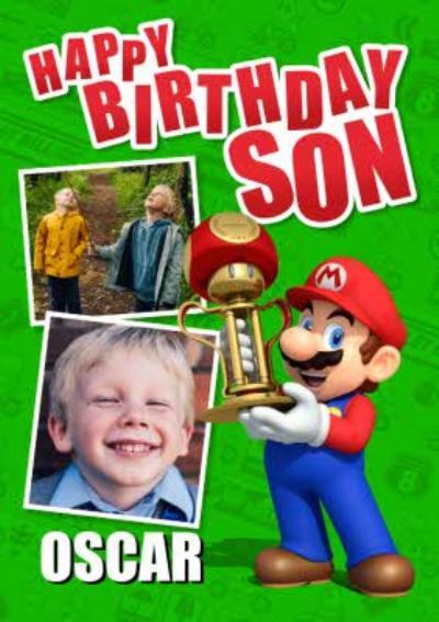 Nintendo Mario Kart Mario With Trophy Happy Birthday Son Photo Upload Card