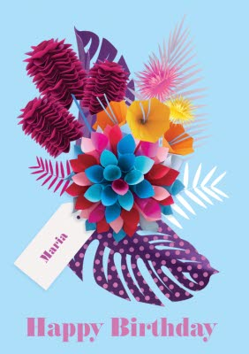 Bright Blue Tropical Flowers Personalised Happy Birthday Card